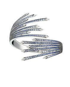 Stephen Webster White Gold Murder She Wrote Firework Cuff with White Diamonds and Sapphires. Funky Jewelry, High Jewelry, Jewelry Art, Vintage Jewellery, Gemstone Bracelets, Bangle Bracelets, Bangles, Jewelry Design Drawing, Art Antique