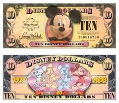 Disney dollars that you can trade cash for and use at Disney. Nice Keepsake or for child to have to spend. Disney Money, Disney Day, Disney Cruise, Disney Stuff, Walt Disney World Vacations, Disney Trips, Happy 80th Birthday, Disney World Tips And Tricks, Disney And More
