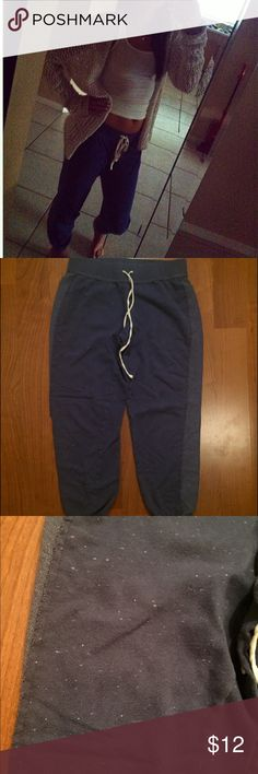 Vs distressed beachy sweatpants Navy blue banded sweatpants that have small white dots throughout to give a distressed look, like new Victoria's Secret Pants Track Pants & Joggers