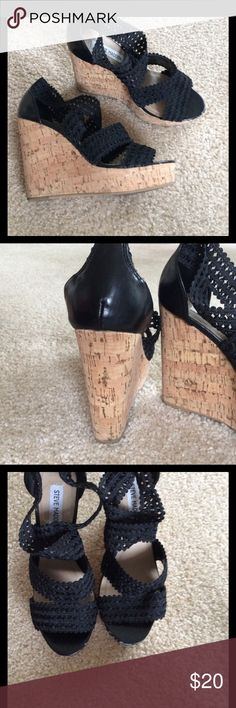 Steve Madden Black Wedges True size 8. Worn once. 6inch height 2 inch platform which makes them easy to walk in. Base is a cork like design. They zip up in the back. Steve Madden Shoes Wedges