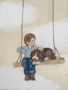 Boy and his dog by muralsbyshauna on Etsy https://www.etsy.com/listing/267998451/boy-and-his-dog