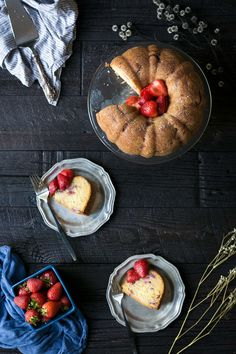 This Strawberry Bundt Cake is perfect all year round, but it's also a perfect strawberry swap! Serve this at your next holiday party!