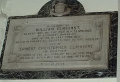 St Mary's, Worsbro' Village - plaque in memory of William (d.1916) and Ernest Christopher Elmhirst (d.1915) sons of the Rev W H Elmhirst.