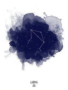 Libra Constellation Libra zodiac Zodiac by TelleQuelle on Etsy Libra Zodiac, Zodiac Art, Zodiac Signs, Aries Constellation Tattoo, Astrology Stars, October Zodiac, Zodiac Constellations, Watercolor Print, Digital Prints