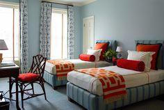 Portfolio | Katie Ridder kids room Jonathan Adler throws bedroom long bolster