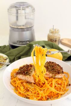Broccoli Breadcrumb Baked Salmon with Butternut Squash Noodles Recipe