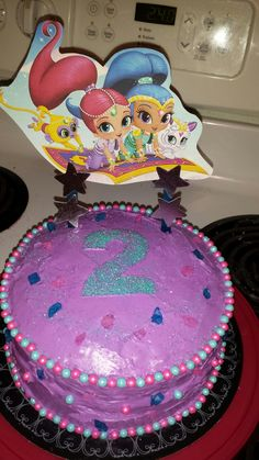The homemade Shimmer and Shine cake I made my daughter!