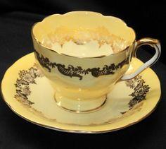 AYNSLEY ENGLAND ROYAL YELLOW GOLD TEA CUP AND SAUCER  75.00