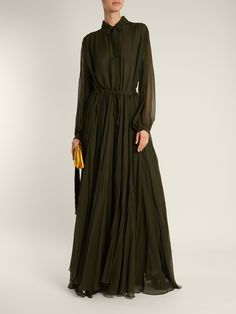 Long-sleeved silk-chiffon gown | BY. Bonnie Young | MATCHESFASHION.COM