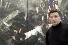 """Photo honoring World Trade Center on Tributes.com. """"Chicago artist Bruno Surdo stands with a portion of his 35-foot mural, """"Tragedy, Memory and Honor,"""" that depicts the Sept. 11 attacks.. After the attacks, Surdo traveled to New York where he collected pieces of debris - paper and concrete - that he later incorporated into the painting."""""""