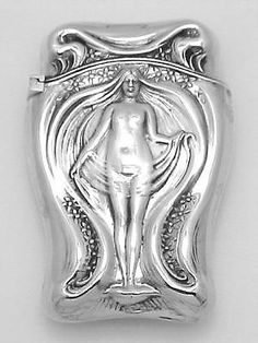 Beautiful Art Nouveau Style Nude Match Safe Vesta Holder Case Sterling Silver