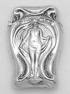 Beautiful Art Nouveau Style Nude Match Safe Vesta Holder Case Sterling Silver