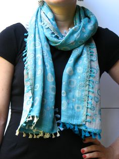 dotted circles turquoise scarf   #scarves #accessories
