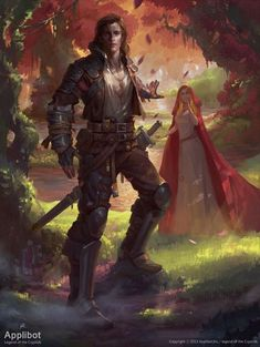 R- o cara Artist: Changming Xu aka ChangMing - Title: Handsome Wolf and Little Red Riding Hood - Card: Foolish Lugal in Love Fantasy Love, High Fantasy, Medieval Fantasy, Fantasy World, Character Concept, Character Art, Concept Art, Fantasy Warrior, Dnd Characters