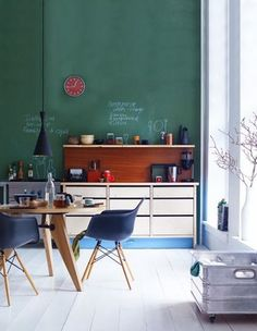 less traditional kitchens, new found love for green, VERT poussin: Au vert!