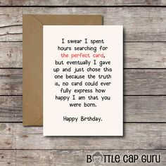 THE PERFECT CARD / Romantic Birthday Card / by BottleCapGuru