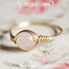 Thin Rose Quartz Ring A grade 14k gold filled wire by littlestgem
