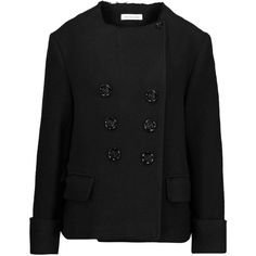 Étoile Isabel Marant Dipo frayed bouclé jacket ($205) ❤ liked on Polyvore featuring outerwear, jackets, black, boucle jacket, etoile--isabel marant jacket, slim fit jackets, double breasted jacket and slim jacket