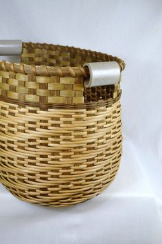 Large Reed or Wicker Storage Basket with Twill Weave and Pottery Handles for Laundry, Toys, yarn.