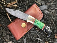 Damascus Folding Knife - Pocket Knife - Small Pocket Camping Knives - Horn & Wood Handle With Leather Sheath - Gift for Men Women Damascus Pocket Knife, Small Pocket Knives, Thick Leather, Damascus Steel, Folding Knives, Knifes, Leather Case, Horn, Handle