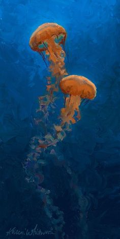 Buy Weightless - Pacific Nettle Jellyfish Duo - Underwater Art, Oil painting by Karen Whitworth on Artfinder. Discover thousands of other original paintings, prints, sculptures and photography from independent artists.