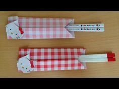 折り紙のキティちゃん 箸袋(箸入れ)簡単な折り方(niceno1)Origami Hello Kitty Chopsticks holder - YouTube