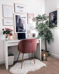 Apartment Living Room Ideas To Inspire Your Design Home Office Space, Home Office Design, Home Office Decor, Home Decor, Office Ideas, Small Office, Office Designs, Office Inspo, White Office