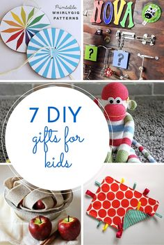 7 easy tutorials for DIY toys for kids and babies. From tag blankets and busy boards to storytelling boxes, sock monkeys and whirlygigs.