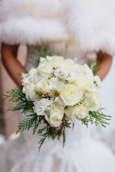 December Winter Wonderland Wedding ~ ivory + white blooms with berries and evergreens
