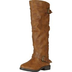 Montage83 Brown Crp Contrast Zipper Metal Stud Buckle Riding Boot... ($50) ❤ liked on Polyvore featuring shoes, boots, buckle boots, brown boots, equestrian boots, buckle shoes and riding boots