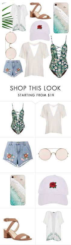 """""""Summertime"""" by gmoro ❤ liked on Polyvore featuring Mara Hoffman, IRO, House of Holland, Sunday Somewhere, Gray Malin, Armitage Avenue, Nine West and Boohoo"""