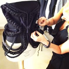 Astrid creating an Atelier piece as a treat for todays 5th AVE Shoe Repair A/W13 press presentation.