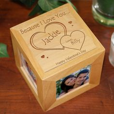 """Personalized Engraved """"Because I Love You…"""" Picture Frame Cube. This would be so cute to display on a coffee table or side table. #scottsmarketplace"""
