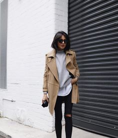 over a long tee, distressed skinnies and trench coat.