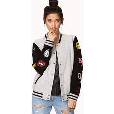 Forever 21 Women's  Forever Cool Patch Varsity Jacket ($19) ❤ liked on Polyvore featuring outerwear, jackets, long sleeve jacket, varsity bomber jacket, varsity jacket, forever 21 jackets and forever 21
