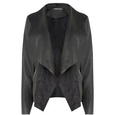 Warehouse Zip Detail Waterfall Jacket (£50) ❤ liked on Polyvore featuring outerwear, jackets, black, waterfall jacket, pocket jacket, faux suede jacket and drape jacket