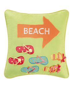 Loving this 'Beach' Flip-Flop Throw Pillow on #zulily! #zulilyfinds