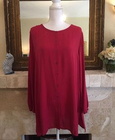 Eileen Fisher 100% Silk Long Tunic Shirt Blouse Women's Sz Large #EileenFisher #ButtonDownShirt #Versatile #silk #tunic #lagenlook