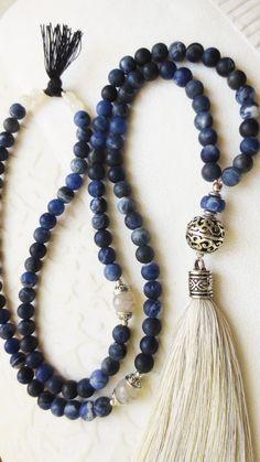 Mala necklace gem beads 108 Sodalith Agate Jade handmade silk tassel OOAK yoga mantra prayer blue cream grey / Mala Kette aus 108 Sodalith/Achat/Jade Perlen und handgemachter Seidenquaste. Neu in meinem DaWanda-Shop