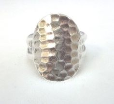 BEAUTIFUL STERLING SILVER HAMMER TEXTURE OVAL RING SIZE 9 8.7 GRAMS | eBay