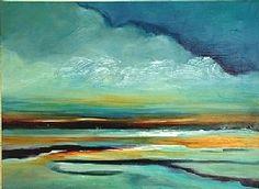 Caladesi Sunset - Original Abstract Painting by Texas Contemporary Artist Filomena de Andrade Booth, painting by artist Filomena Booth