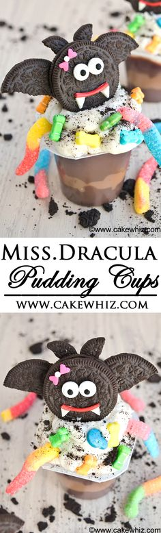 Use Oreos and store bought candies to transform pudding cups into MISS. DRACULA PUDDING CUPS for Halloween. From cakewhiz.com #mixinmonstermash {Ad}