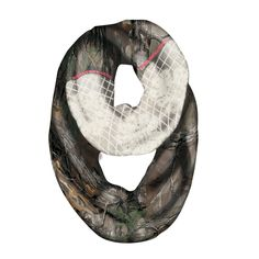 """This gem of a scarf has all kinds of special details you will love, including a lace panel that mixes perfectly with the Realtree Extra camo pattern when you wrap it twice. Look closely and you will also find the words """"Reatree Girl"""" embroidered on the side in peach orange! The infinity styling allows for wearing long, or wrap it one more time to nest closer to your neck."""