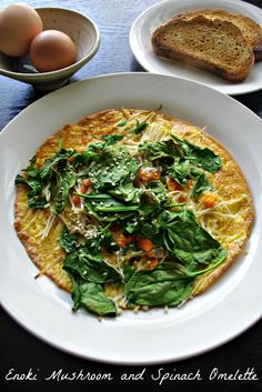 Enoki mushroom and spinach omelette