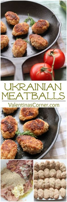 Ukrainian Kotleti Meatballs (To make Keto-friendly, replace bread crumbs with crushed pork grinds, unsweetened shredded coconut, or almond/flax/coconut flour mix) Ukrainian Recipes, Russian Recipes, Ukrainian Food, Russian Foods, Pork Recipes, Chicken Recipes, Cooking Recipes, Veggetti Recipes, Curry Recipes
