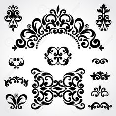 Vector Set With Classical Ornament In Victorian Style. Ornate ...