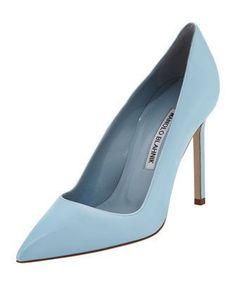 73a0385b67 Manolo Blahnik BB Patent Point-Toe Pump, Light Blue - Bergdorf Goodman  #ManoloblahnikHeels