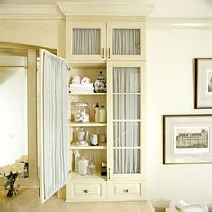Bathroom Storage Cabinets | Glass-door upper cabinets let you control what to display and what to ...