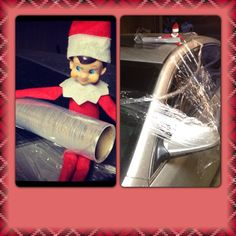 Elf of a Shelf idea...Saran Wrapped car