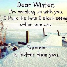 ''Dear Winter, I'm breaking up with you. I think it's time to start seeing other seasons. Summer is hotter than you.'' (564×563) source:  http://www.lovethispic.com/image/151447/dear-winter-i'm-breaking-up-with-you